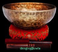 "New Tibetan Singing Bowl #9727 : HW 9 3/4"", D3 & A4."