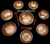 Tibetan Singing Bowl Set #116: Master-Healing Diatonic (8 pc.)