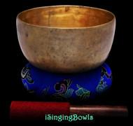 """Antique Tibetan Singing Bowl #9328 : Lotus 7 1/4"""", circa 18th Century, F3 & B4."""