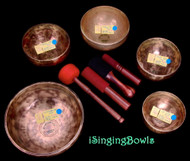 Tibetan Singing Bowl Set #169:  (5 pc.) Pentatonic Rim w/444 Hz. Tuning
