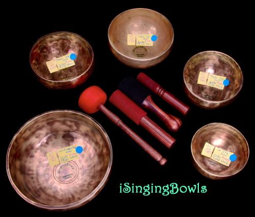 Tibetan Singing Bowl Set #169:  (5 pc.) Pentatonic Rim w/444 Hz. Tuning