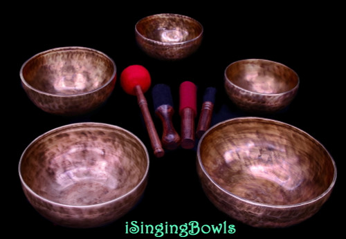 Tibetan Singing Bowl Set #122: Pentatonic Rim (5 pc.)