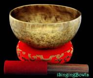 """New Tibetan Singing Bowl #8019 : Thadobati 7 3/8"""",  A#3 & E5."""