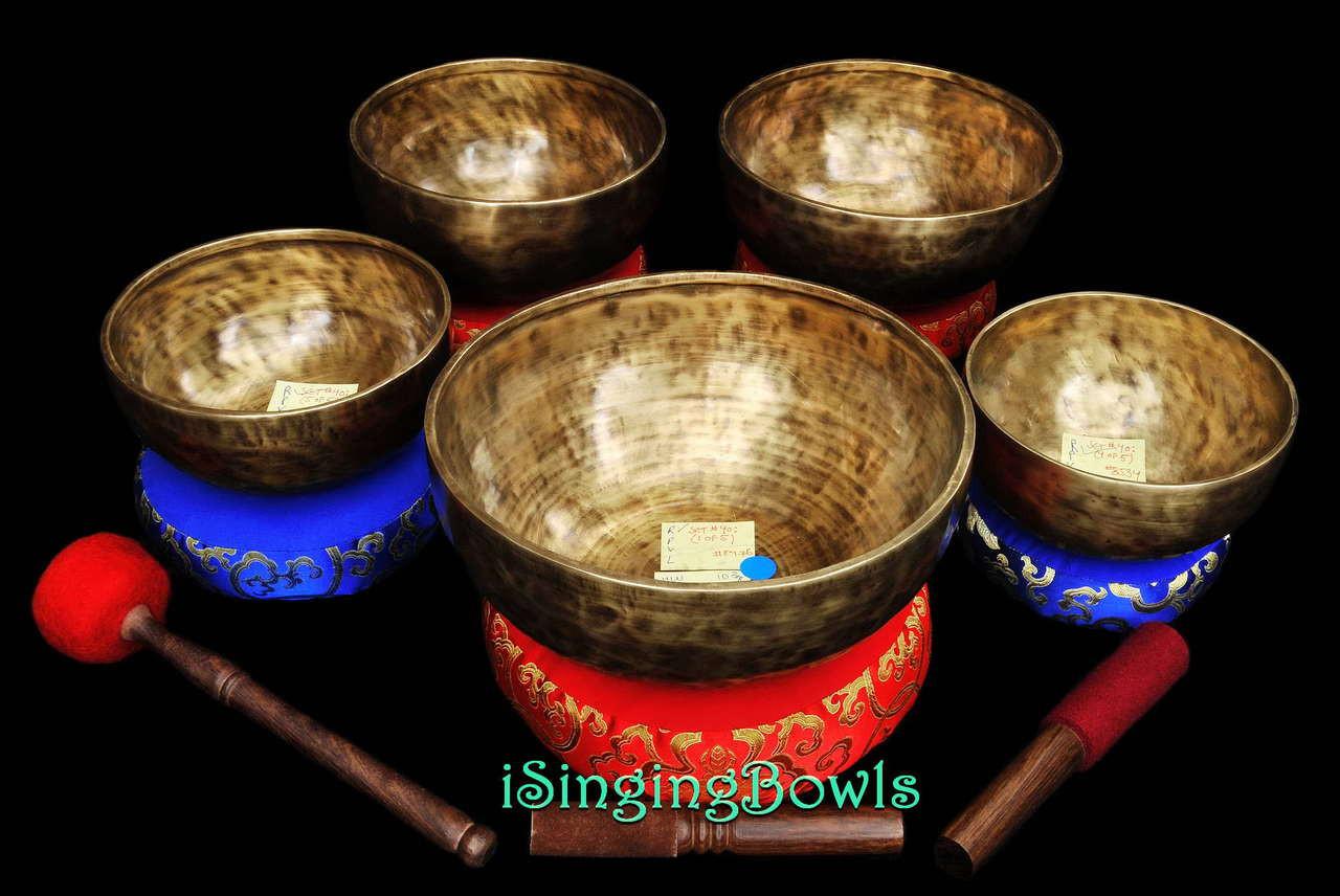 Tibetan Singing Bowl Set #40: Chakra Tuned Master-Healing (5