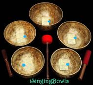 Tibetan Singing Bowl Set #41: Pentatonic Rim (5 pc.)