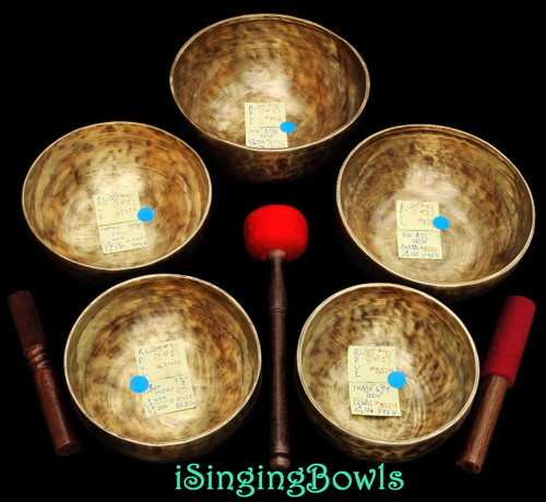 Tibetan Singing Bowl Set #41: Pentatonic Rim (5 pc.)