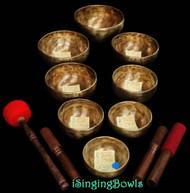Tibetan Singing Bowl Set #30: Master-Healing Root Chakra Diatonic (8 pc.)