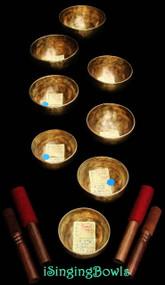 Tibetan Singing Bowl Set #34: Master-Healing Root Chakra Diatonic (8 pc.)