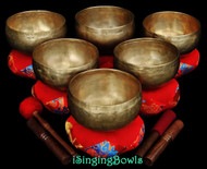 "Antique Tibetan singing bowl set #49: Lotus (""Coprabati"") (6 pc.)"