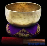 """Antique Tibetan Singing Bowl #7734 : Thado 7"""", circa 16th Centruy, A3 & D#5."""
