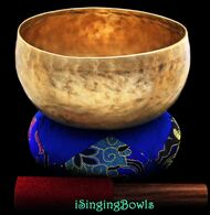"""Antique Tibetan Singing Bowl #8557 : Lotus 7 1/4"""", circa 19th Century, C3 & F#4."""