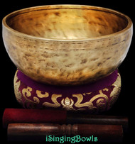 "New Tibetan Singing Bowl #8740 : Jambati  8 5/8"" Dia, Contemporary, A3 & D#5."