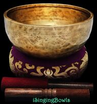 "New Tibetan Singing Bowl #8736: Jambati 8 1/4"" , B3 & F5."