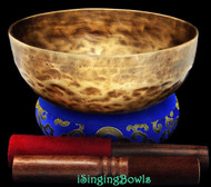 """New Tibetan Singing Bowl #8099 : Jambati  8"""",  D#3 & G#5."""