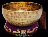 "New Tibetan Singing Bowl #8757 : Cup 5 3/4"",  E4 & A#5."