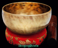 "New Tibetan Singing Bowl #8760:  Cup 5 1/4"",  F4 & B5."