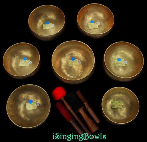 """Antique Tibetan singing bowl set #69: Lotus (""""Coprabati"""") (7 pc.)"""