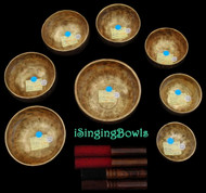 Tibetan Singing Bowl Set #76: Master-Healing Diatonic (8 pc.)
