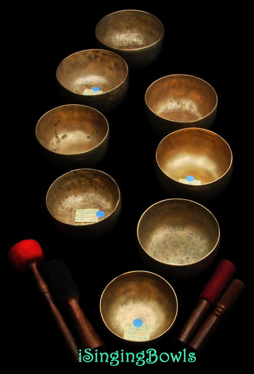 Antique Tibetan Singing Bowl Set: Diatonic (8 pc.)