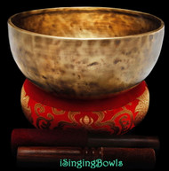 "New Tibetan Singing Bowl #9192: Thadobati 8 3/4"" diameter, D3 & A4."