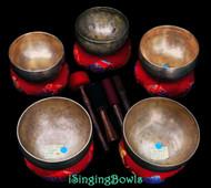"""Antique Tibetan Singing Bowl Set #85: Lotus (""""Coprabati"""") (5 pc.)"""