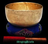 """Antique Tibetan Singing Bowl #9268 : Thado 7 1/2"""", ca. 17th Century, C#3 & G4."""