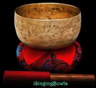 "Antique Tibetan Singing Bowl #9265 : Karma 6 1/8"", circa 18th C., F#3 & C5."