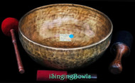"New Tibetan Singing Bowl #9085: Jambati 14 1/4"" Diameter, E2 & B3."