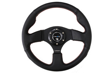 NRG 320mm Sport Leather Steering Wheel w/ red stitch (ST-012R)