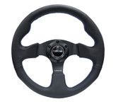 NRG 320mm Sport Leather Steering Wheel w/ Blue stitch (RST-012R-BL)