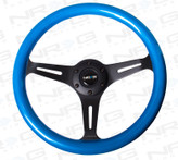 ST-015BK-BL Classic Wood Grain Wheel, 350mm, 3 spoke center in black - Blue