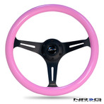 ST-015BK-PK Classic Wood Grain Wheel, 350mm, 3 spoke center in black - Pink