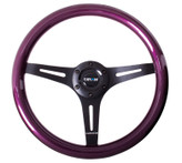 ST-015BK-PP Classic Wood Grain Wheel, 350mm, 3 spoke center in black - Purple