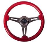 ST-015BK-RD Classic Wood Grain Wheel, 350mm, 3 spoke center in black - Red