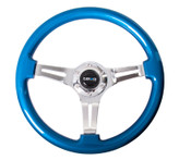 ST-015CH-BL Classic Wood Grain Wheel, 350mm, 3 spoke center in chrome - Blue