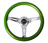 ST-015CH-GN Classic Wood Grain Wheel, 350mm, 3 spoke center in chrome - Green