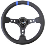 "NRG 350mm Sport steering wheel (3"" Deep) Black w/ Blue Double Center Marking (ST-016R-BK)"