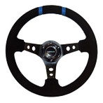 "NRG 350mm Sport Steering wheel (3"" Deep) - Black Suede - Black w/ Blue Double Center Marking (ST-016S-BK)"