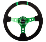 "NRG 350mm Sport Steering wheel (3"" Deep) - Black Suede - Green w/ Green Double Center Marking (ST-016S-GN)"