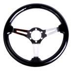 ST-025-BK Classic Wood Grain Wheel, 350mm, 3 spoke center in black, Leather wheel with wood accents
