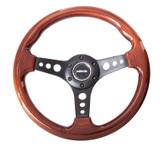 ST-035-BK Classic Wood Grain Wheel, 330mm, 3 spoke center in black