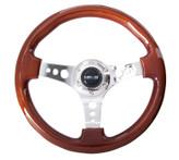 ST-035-CH Classic Wood Grain Wheel, 330mm, 3 spoke center in chrome
