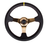 "NRG 350mm Sport Steering wheel (3"" Deep) - Black Leather w/ Red Stitching - Gold Center"