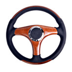 ST-055-W Classic Wood Grain Wheel, 350mm, 3 spoke center in wood