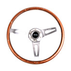 NRG Classic Wood Grain Wheel, 365mm, 3 spoke center in polished aluminum, wood with metal accents (ST-065)