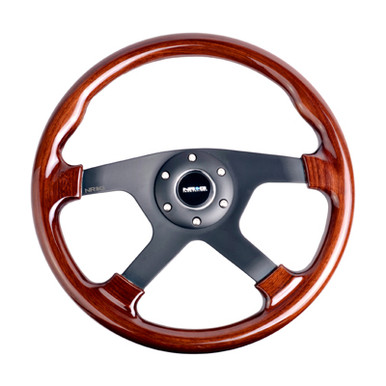 ST-075-BK Classic Wood Grain Wheel, 350mm, 4 spoke center in black