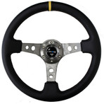 "NRG Steering Wheel - 3"" Deep Dish - Black Leather - Gun Metal Spoke (ST-006GM-Y)"