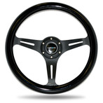 ST-015BK-BK Classic Wood Grain Wheel, 350mm, 3 spoke center in black - Black