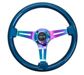ST-015MC-BL Classic Wood Grain Wheel, 350mm, Blue colored wood, 3 spoke center in Neochrome