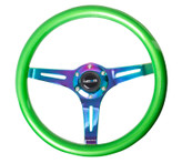 ST-015MC-GN Classic Wood Grain Wheel, 350mm, Green colored wood, 3 spoke center in Neochrome